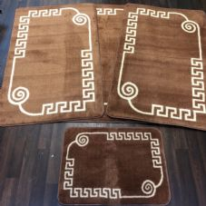 ROMANY WASHABLES GYPSY MATS 4PC SET SOFT GREEK DESIGN BROWN NON SLIP CARPETS